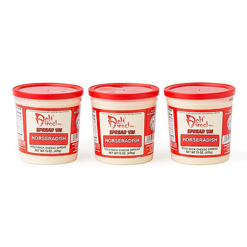 Wisconsin Cheese Spread - Horseradish (3 Pack 15oz.each Containers) w/ Free Sleeve of Crackers