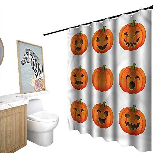 BlountDecor Pumpkin Shower Curtains Digital Printing Happy Sad Jack o Lanterns 55