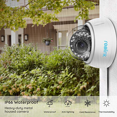 Reolink PoE Turret Camera 5MP Super HD 4X Optical Zoom Vandal-Proof IK10 Work with Google Assistant, Security IR Night Vision Motion Detection Waterproof for Outdoor,Ceiling Mount,RLC-422