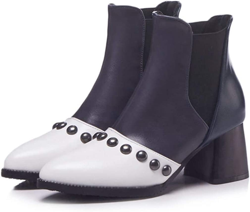 Elsa Wilcox Women Platform Chunky Block Heel Bootie Elastic Studded Rivets Short Boot Pointed Toe Ankle Boots