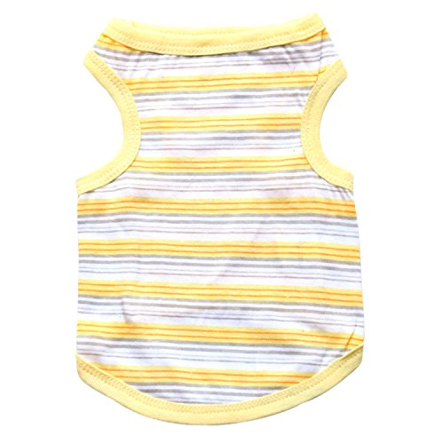Ollypet Yellow Shirt for Small Pets Dog Clothes Striped Tank Top Cotton Summer Apparel Chihuahua
