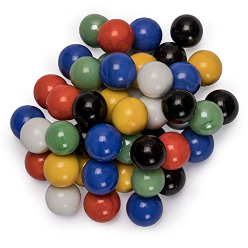 Yellow Mountain Imports 60 Pieces Chinese Checkers Glass Marbles Set with Solid Colors - 16 Millimeters