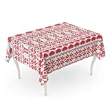 Semtomn 60 x 102 Inch Decorative Rectangle Tablecloth Scandinavian Nordic Winter Sweater Stitch Knit Pattern Including Star Xmas Waterproof Oil-Proof Printed Table Cloth