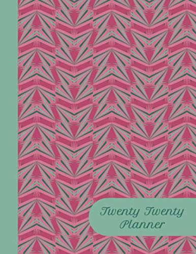 "Twenty Twenty Planner: Pretty pink and green ribbons pattern print matte cover of 8.5"" x 11"" inches. January to December planner includes weekly and ... notes section and fun holiday reminders"