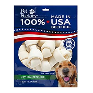 Pet Factory 78210 Made in USA Value Pack 6-7″ Rawhide Bones for Dogs 8 Pack