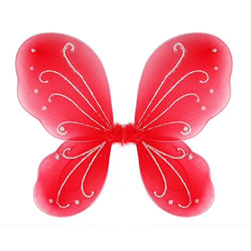 Dushi Butterfly Fairy Wings Angel Wings Birthday Party Favor Kids' Costume Accessories Dress Up Wings for Girls Red