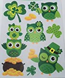 St. Patrick's Day Reusable Window Clings ~ Irish Owls, Shamrock Coins (8 Clings, 1 Sheet)