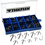 103X Mixed #3/#4/#5/#6#7/#8/#9/#10/#11 12 Sizes Carbon Black Treble Fishhook Treble Fishing Hooks With Box