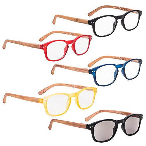 READING GLASSES 5 pack Bamboo-look Temples Include Sunshine Readers ()