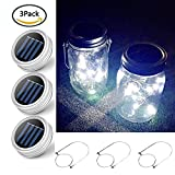 3 Pack Solar Mason Jar Lids and Handles- 10 LED Garden Decor Lid Insert for Hanging Solar Lanterns and Outdoor Chrismas Wedding Patio Path Canning Lights Cool White (Jars Not Included,Silver handle)