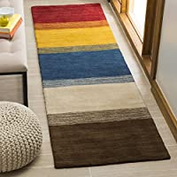 Safavieh Himalaya Collection HIM581A Handmade Orange and Multi Premium Wool Runner (23 x 10)