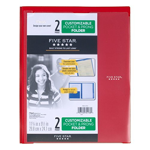 4 Pack Five Star 2 Pocket Folders with Prong Fasteners Green Customizable Cover Black Red Blue Folders with Pockets Plastic 38133