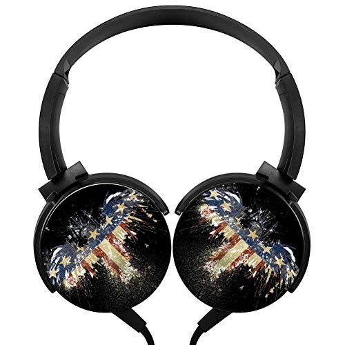 (LSCX007 Amercian Eagle Flag Portable Over Ear Wired Stereo Adjustable Headphones Headset USB Charger Built-in Mic Microphone For Kids Adults With Computer/Cell Phones/ TV)