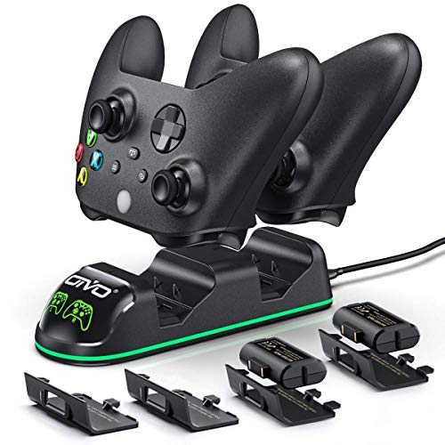 Controller Charger for Xbox Series & One S/X/Elite Controller, OIVO Conroller Charger Docking Station with 2 Packs 1300mAh Rechargeable Battery- 4 Battery Cover Included(Fits One& Series Controller)