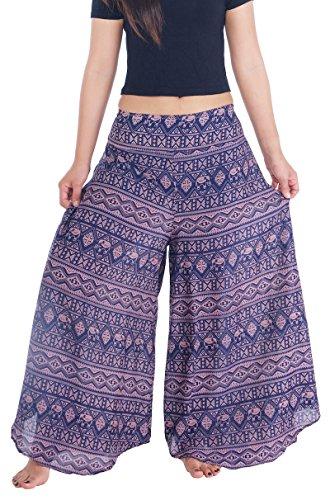 Lannaclothesdesign Womens Lounge Palazzo Pants Wide Legs S M L XL Sizes (M, Dark Blue Small Line Elephant)