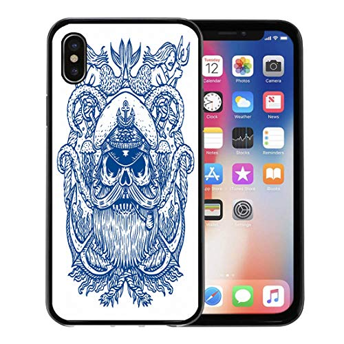 Semtomn Phone Case for Apple iPhone Xs case,Man Captain Skull in Hat Beard and Pipe Tentacles of Octopus Mermaids Pirate for iPhone X Case,Rubber Border Protective Case,Black]()