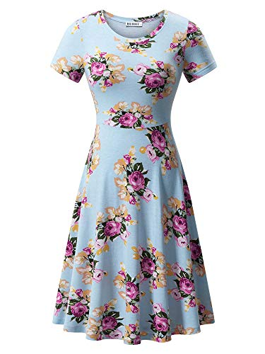 HUHOT Floral Knit Dresses,Women's Short Sleeves Summer Casual Midi Sundress SkyBlue Small