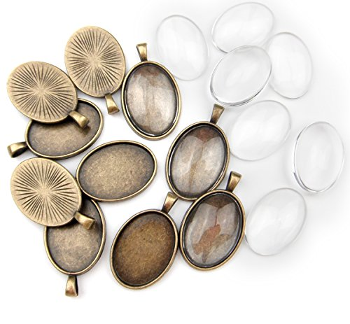- ALL in ONE 10 Sets Cabochon Frame Setting Tray Pendant with Clear Glass Dome Tile for Diy Jewelry Making (25X18MM AB)