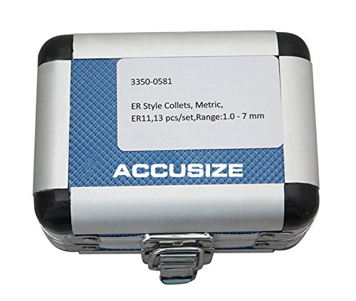 AccusizeTools - Metric ER Collets 13 Pcs/Set ER-11 Collet Sizes 1 to 7mm by 0.5mm in Fitted Strong Aluminum Box, 3350-0581 by Accusize Industrial Tools (Image #2)