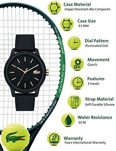 Lacoste Men's TR90 Japanese Quartz Watch with Rubber Strap, Black, 19.5 (Model: 2011010) 2