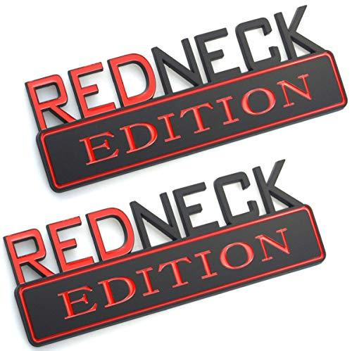 Chrome Car Badge - 2pcs REDNECK EDITION CAR EMBLEM Chrome Badge 3D Sticker Decal Compatible with F-150 F250 F350 Silverado RAM 1500 (Red/black)