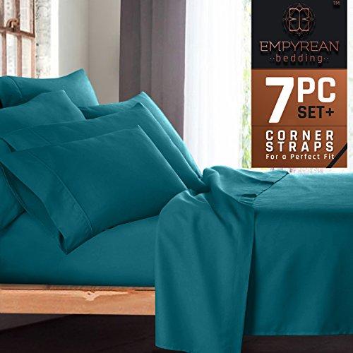 Premium 7-Piece Bed Sheet & Pillow Case Set – Luxurious & Soft Split King Size Linen, Extra Deep Pocket Super Fit Fitted Teal Blue Sheets