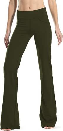 "Safort (28""/30""/32""/34"" Inseam Regular/Tall Bootcut Yoga Pants(3 Colors), 4 Pockets, Long Bootleg, Flare Pants, Black"