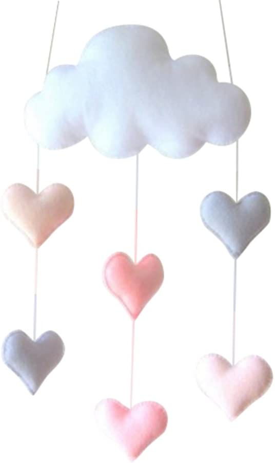 TINKSKY Ceiling Mobile Hanging Cloud Decorations Heart Garland for Kids Room Baby Shower