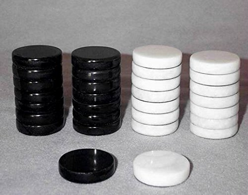 Black and White Marble Backgammon Pieces, Stone Replacement Backgammon Checkers - 1 1/4 Inch by Khan Imports