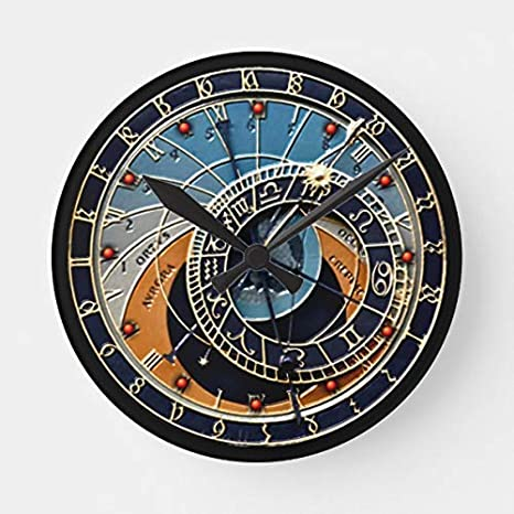 HSSS Praga astronómico Decorativo Redondo Reloj de Pared de Madera - 12 Pulgadas: Amazon.es: Hogar