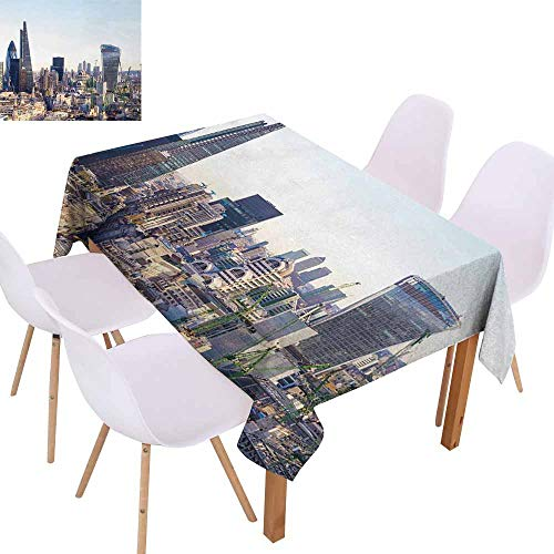 UHOO2018 Cityscape,Microfiber Tablecloth,Aerial London View with Skyscrapers British Town Famous Urban Scenery,Perfect for Any Entertaining Event,Light Blue -