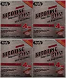 Nicotine Gum 4mg Sugar Free Coated Cinnamon Generic for Nicorette 100 Pieces per Box Pack of 4 Total 400 Pieces