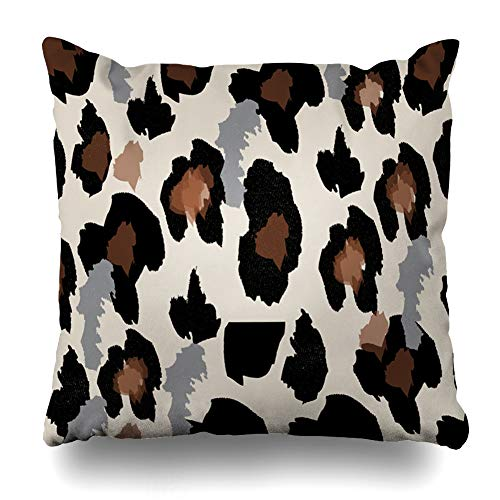 Ahawoso Throw Pillow Cover Black Pattern Leopard Abstract Camouflage Cat Cheetah Exotic Fur Design Decorative Pillow Case 20x20 Inches Square Home Decor Pillowcase