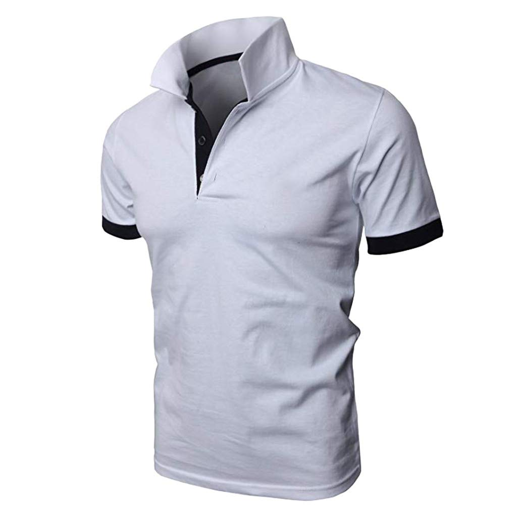 Fashion Mens Short Sleeve Individual Slim Fit Short Sleeve Shirt Casual Solid Color Pullover Button Shirt Asibeiul