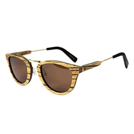 WOLA Damen Herren Sonnenbrille Holz AQUA Brille rund mit Metallbrücke polarisiert UV400 Zebraholz Unisex Damen M - Herren S qDlxzSIDHU