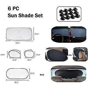 Tomus-UNI 6 Piece Car Windshield Sunshade Window Sunshade Protector Foldable Windshield UV Reflector Protector Keeps Vehicle Cool