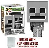 Funko 8-Bit Pop! Games: Minecraft - Skeleton Vinyl Figure (Bundled with Pop BOX PROTECTOR CASE)