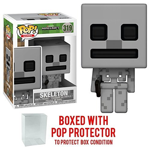 Funko 8-Bit Pop! Games: Minecraft - Skeleton Vinyl Figure (Bundled with Pop BOX PROTECTOR CASE)