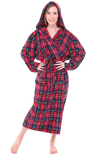 Del Rossa Womens Fleece Robe, Long Hooded Bathrobe, 3X 4X Blue Red and Green Plaid (A0116Q194X)