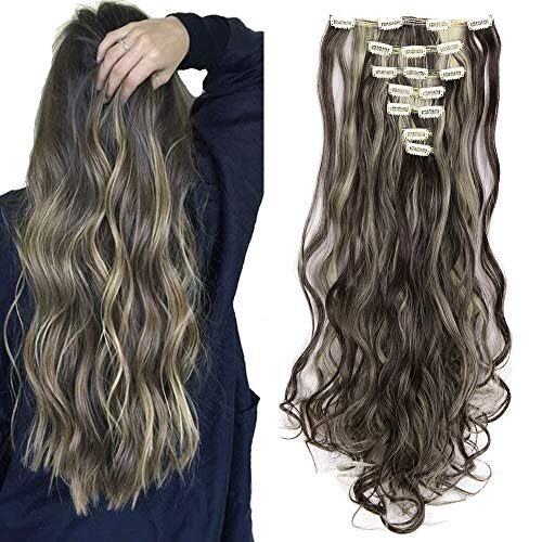 (3-5 Days Delivery 7Pcs 16 Clips 24 Inch Wavy Curly Clip in on Double Weft Hair Extensions)