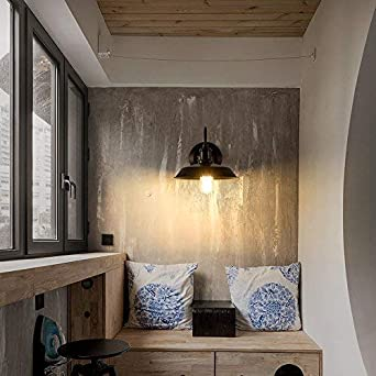 Vintage Wall Light Industrial Lighting Socket Rustic Sconces Wire Metal Wall Lamp Indoor Home Retro Lights Fixture Single Lamp-Base Painted with Modern Black