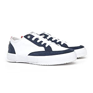 Unisex Classic Fashion Sneakers (240 (US 6), NAVY WHITE)