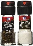 Seasoning Bundle - 2 Items: McCormick Sea Salt Grinder 2.12 Oz. & Black Peppercorn Grinder 1.0 Oz