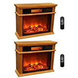 LifeSmart LifePro 3 Element Portable Electric Infrared Fireplace Heaters (Pair)