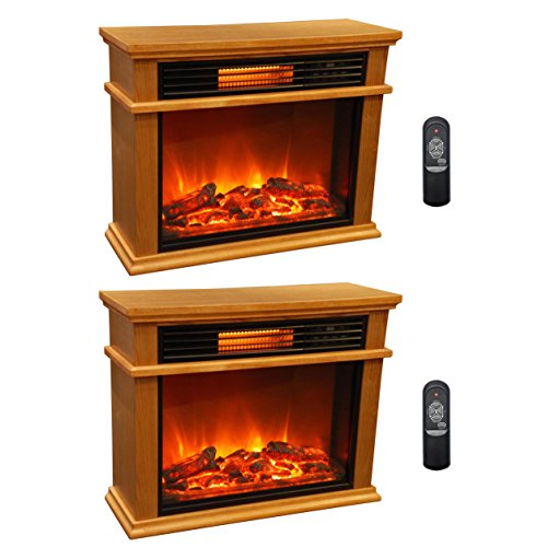 LifeSmart LifePro 3 Element Portable Electric Infrared Fireplace Heaters (Pair) by LIFE PRO