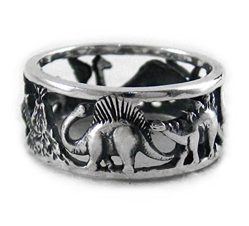 - Sterling Silver Dinosaurs Band Ring, Size 6