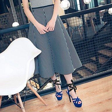 Talones de las mujeres Zapatos Primavera Verano Otoño club de cuero para oficina y del partido de la carrera y del vestido de noche del tacón de aguja con cordones Negro Azul Rojo Blue