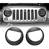 Extreme Off-Road 2007-2018 JK JKU Jeep Wrangler Headlight Bezel Headlight Cover Grille Inserts Grill for Jeep Wrangler Accessories & Unlimited Rubicon Sahara Sports (Headlight Bezel)