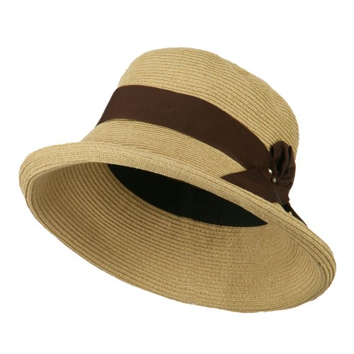 E4hats Metallic Hat - Metallic Half Bow Roll Up Hat - Natural OSFM