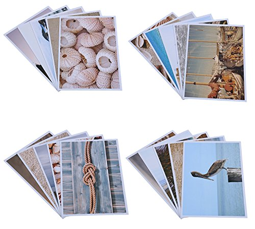 20 Postcards - Nautical Beach Boating Seashell Designs - Glossy Photographic Designs - 4 x 6 Inches